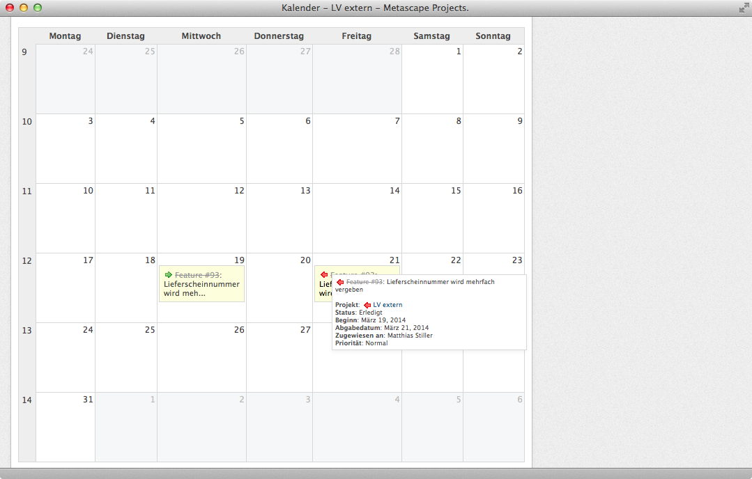 Screenshot Redmine Kalender