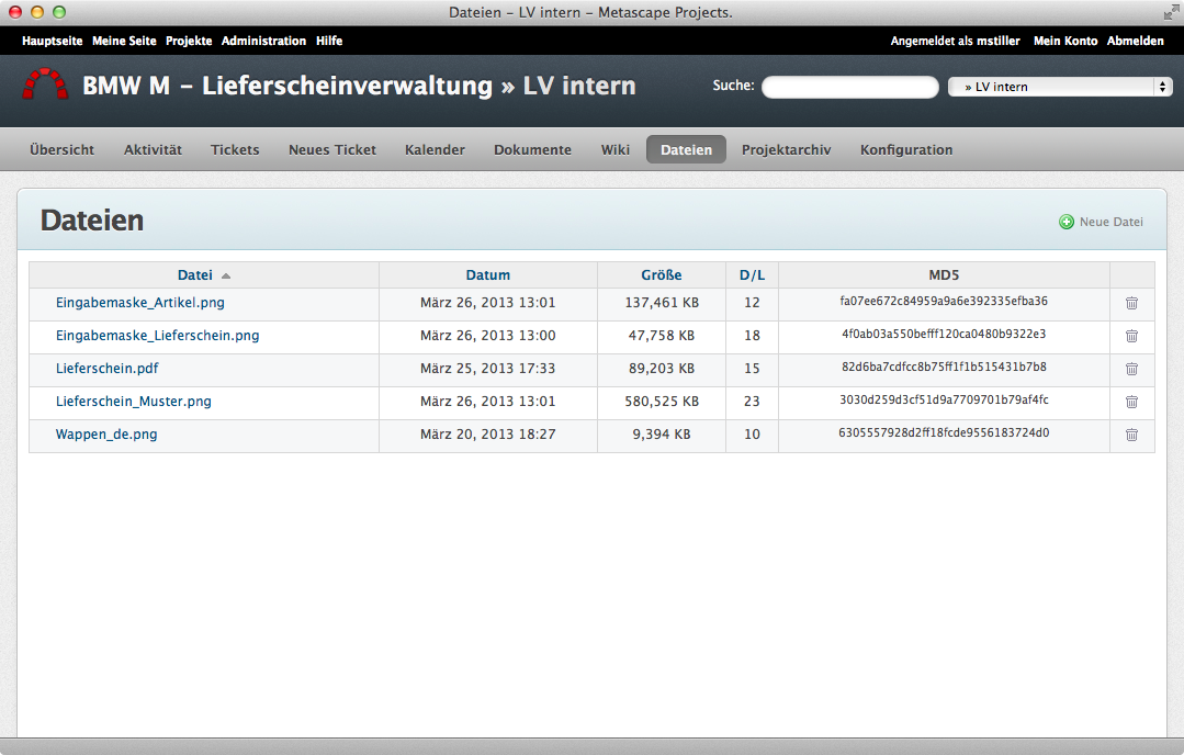 Screenshot Redmine Dateiablage
