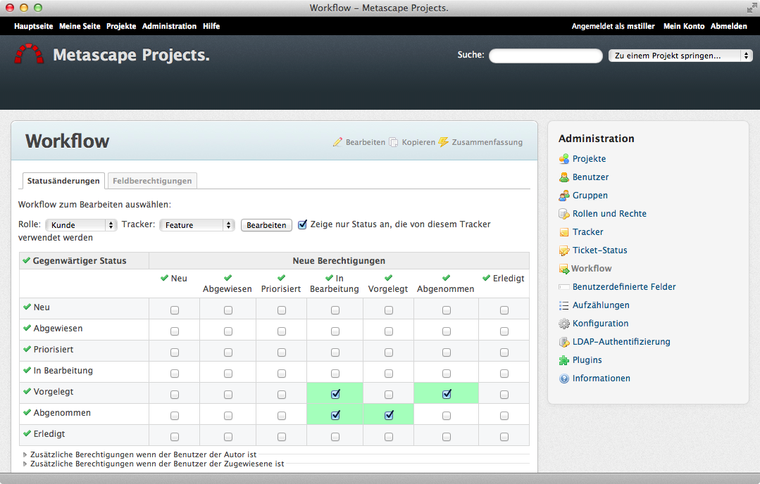 Screenshot Redmine Workflowmanagement